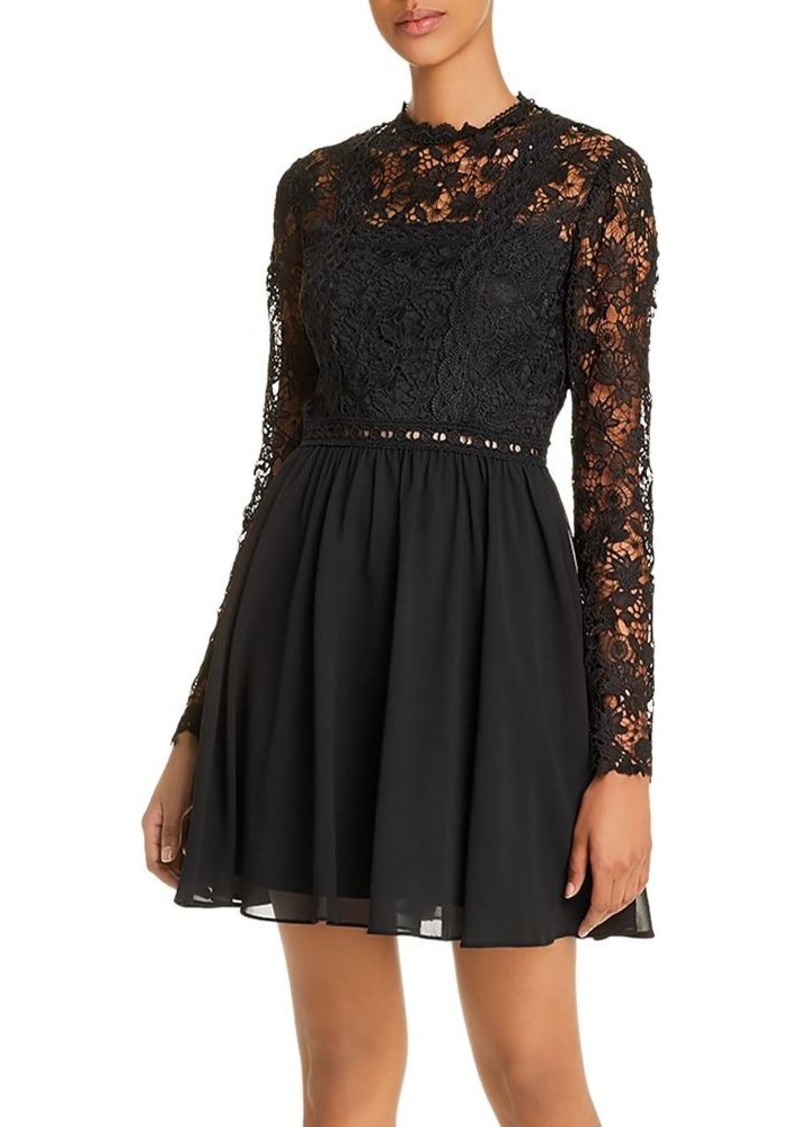 AQUA Lace-Bodice Fit-and-Flare Dress - 100% Exclusive
