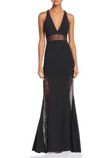 AQUA Lace-Inset Crepe Gown - 100% Exclusive