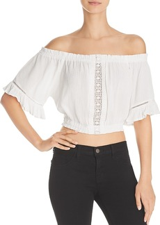 Aqua Lace-Inset Off-the-Shoulder Cropped Top - 100% Exclusive