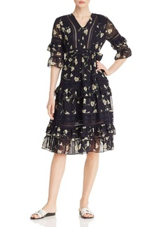 AQUA Lace-Inset Ruffled Floral Midi Dress - 100% Exclusive