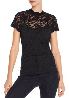 AQUA Lace Overlay Top - 100% Exclusive