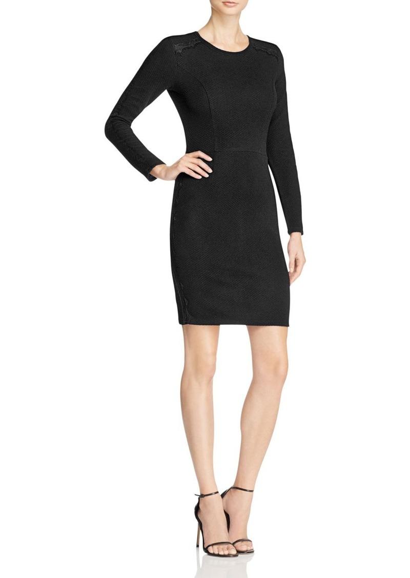 AQUA Lace Panel Body Con Dress