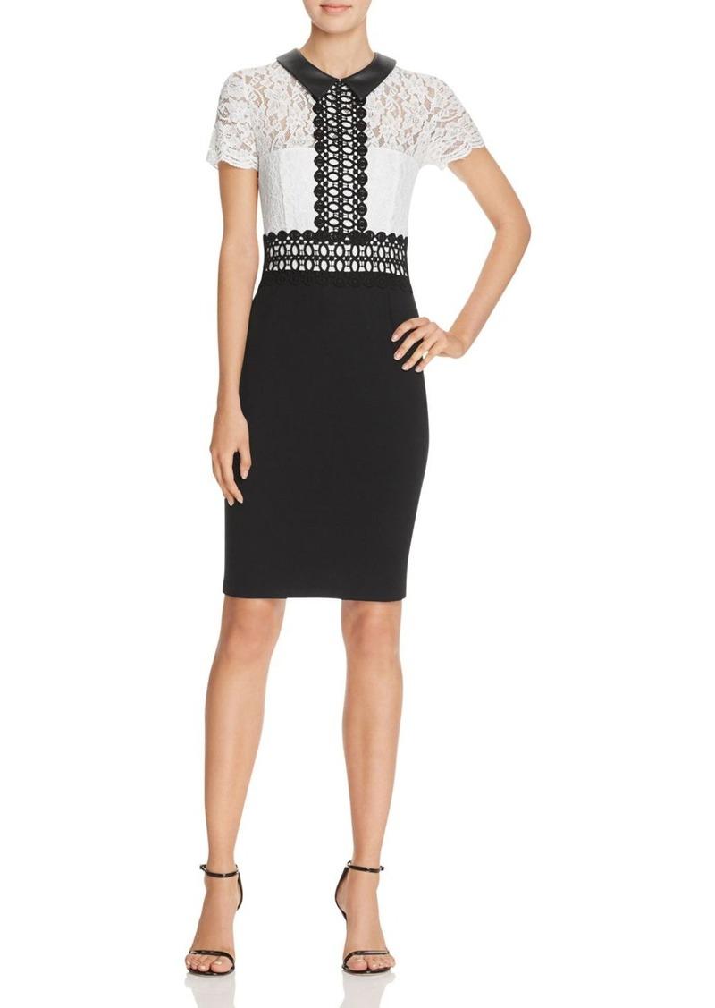 AQUA Lace Ponte Collared Dress