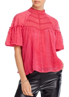 AQUA Lace-Trim Embroidered Top - 100% Exclusive