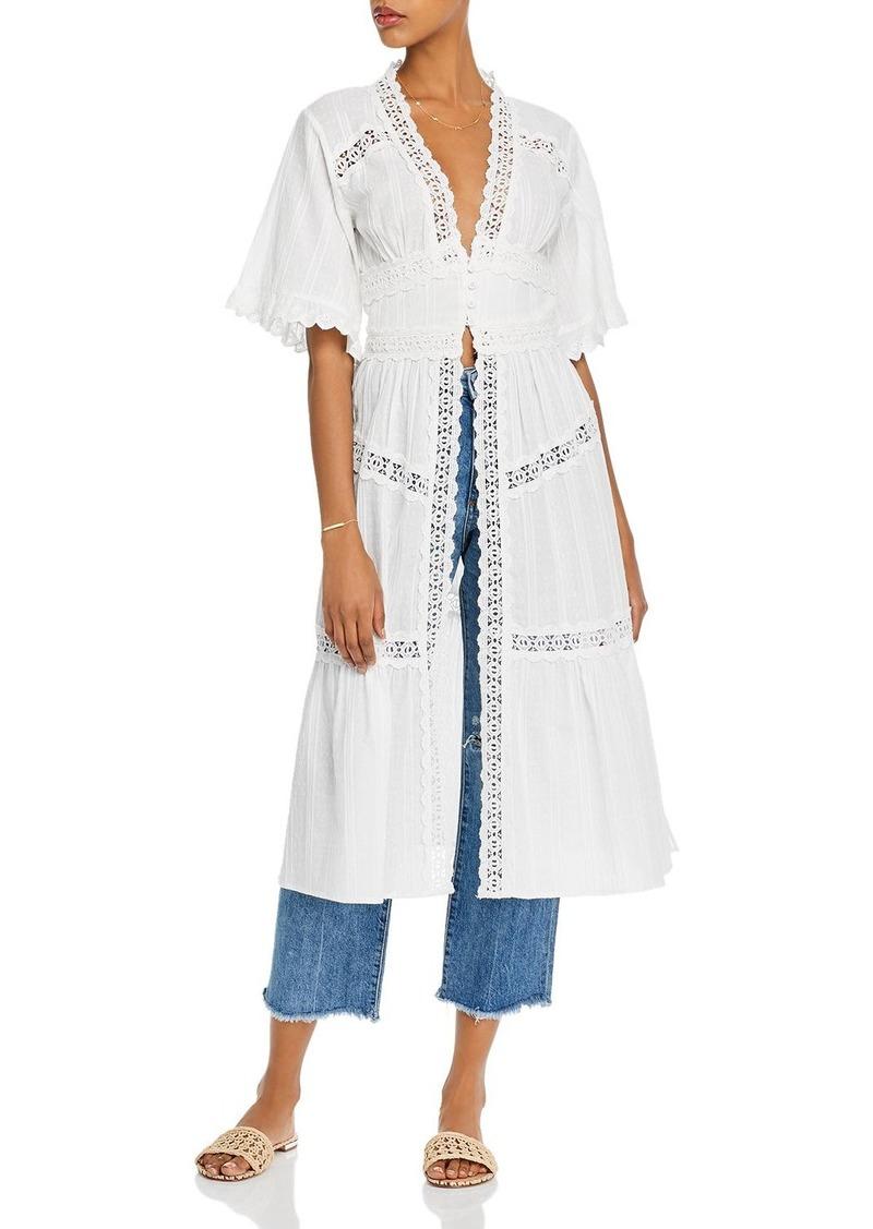 AQUA Lace-Trim Long Jacket - 100% Exclusive