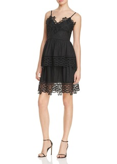AQUA Lace Trim V-Neck Tiered Dress - 100% Exclusive