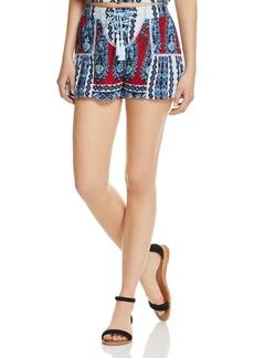 AQUA Lace-Up Paisley Floral Print Shorts - 100% Exclusive