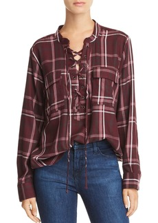 AQUA Lace-Up Plaid Top - 100% Exclusive