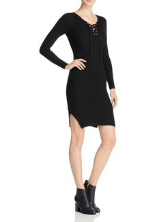 AQUA Lace Up Rib Knit Sweater Dress - 100% Exclusive