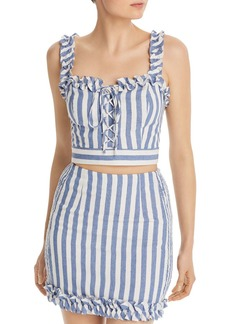 AQUA Lace-Up Striped Cropped Top - 100% Exclusive