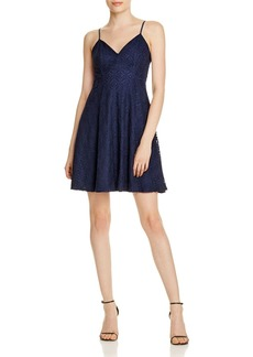 AQUA Lace V-Neck Fit-and-Flare Dress - 100% Exclusive