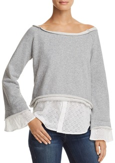 AQUA Layered-Look Eyelet Detail Sweatshirt - 100% Exclusive