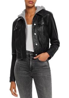 AQUA Layered-Look Faux Leather Trucker Jacket - 100% Exclusive
