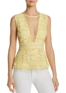 AQUA Leaf-Detail Lace Top - 100% Exclusive
