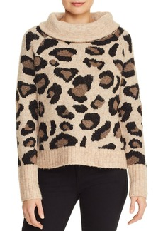 AQUA Leopard Cowl-Neck Sweater - 100% Exclusive