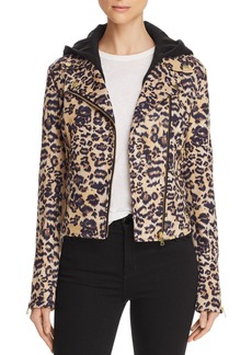 AQUA Leopard Faux Suede Moto Jacket - 100% Exclusive