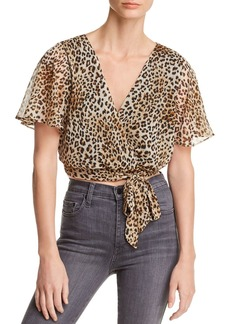 AQUA Leopard Print Faux-Wrap Cropped Top - 100% Exclusive