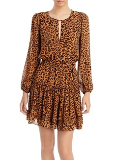 AQUA Leopard Print Ruffled Mini Dress - 100% Exclusive