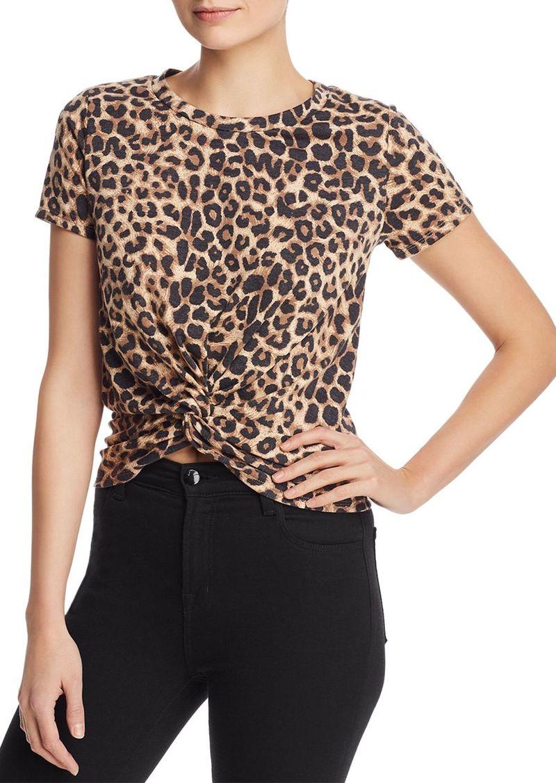 AQUA Leopard-Print Twist-Front Tee - 100% Exclusive
