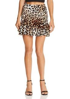 AQUA Leopard Print Velvet Skirt - 100% Exclusive