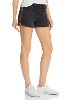 AQUA Leopard Track Stripe Denim Shorts in Black - 100% Exclusive