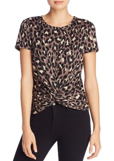 AQUA Leopard Twist-Front Short Sleeve Top - 100% Exclusive