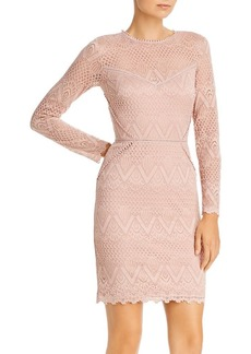 AQUA Long-Sleeve Lace Sheath Dress - 100% Exclusive