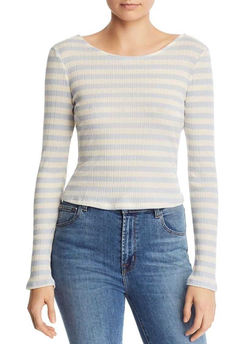 AQUA Long-Sleeve Striped Ribbed Tee - 100% Exclusive