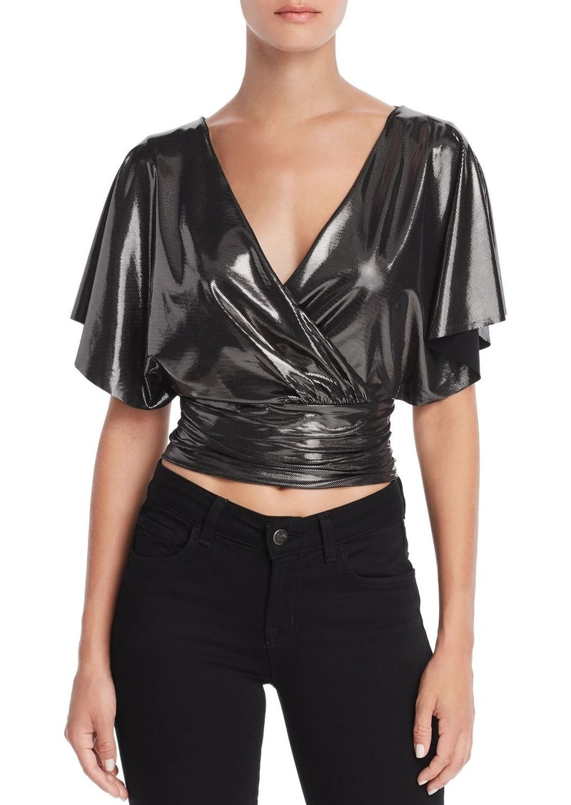 AQUA LUXE Capsule Metallic Faux-Wrap Cropped Top - 100% Exclusive