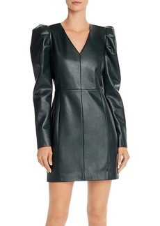AQUA LUXE Capsule Puff-Sleeve Faux Leather Dress - 100% Exclusive