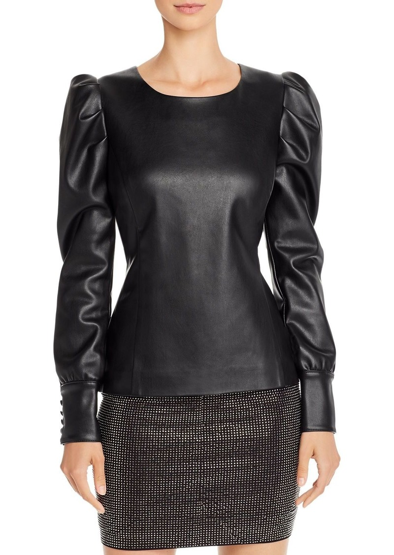 AQUA LUXE Capsule Puff-Sleeve Faux Leather Top - 100% Exclusive