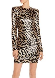 AQUA LUXE Capsule Zebra-Stripe Sequined Dress - 100% Exclusive