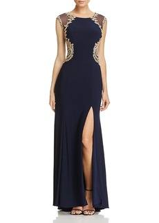 Aqua Mesh-Back Embroidered Gown - 100% Exclusive