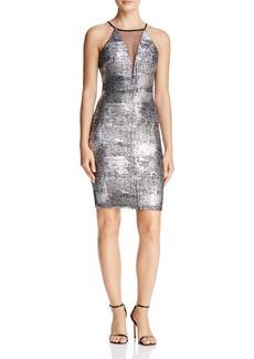 AQUA Mesh-Inset Metallic Dress - 100% Exclusive