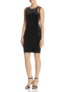 AQUA Mesh-Inset Velvet Dress - 100% Exclusive