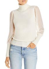AQUA Mesh Puff Sleeve Cashmere Turtleneck - 100% Exclusive