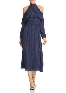 AQUA Metallic Cold-Shoulder Gauze Dress - 100% Exclusive