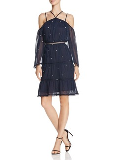 AQUA Metallic Embroidered Cold-Shoulder Dress - 100% Exclusive