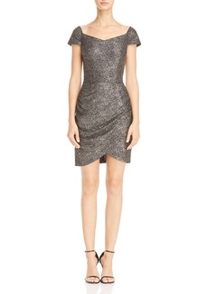 AQUA Metallic Faux Wrap Dress - 100% Exclusive