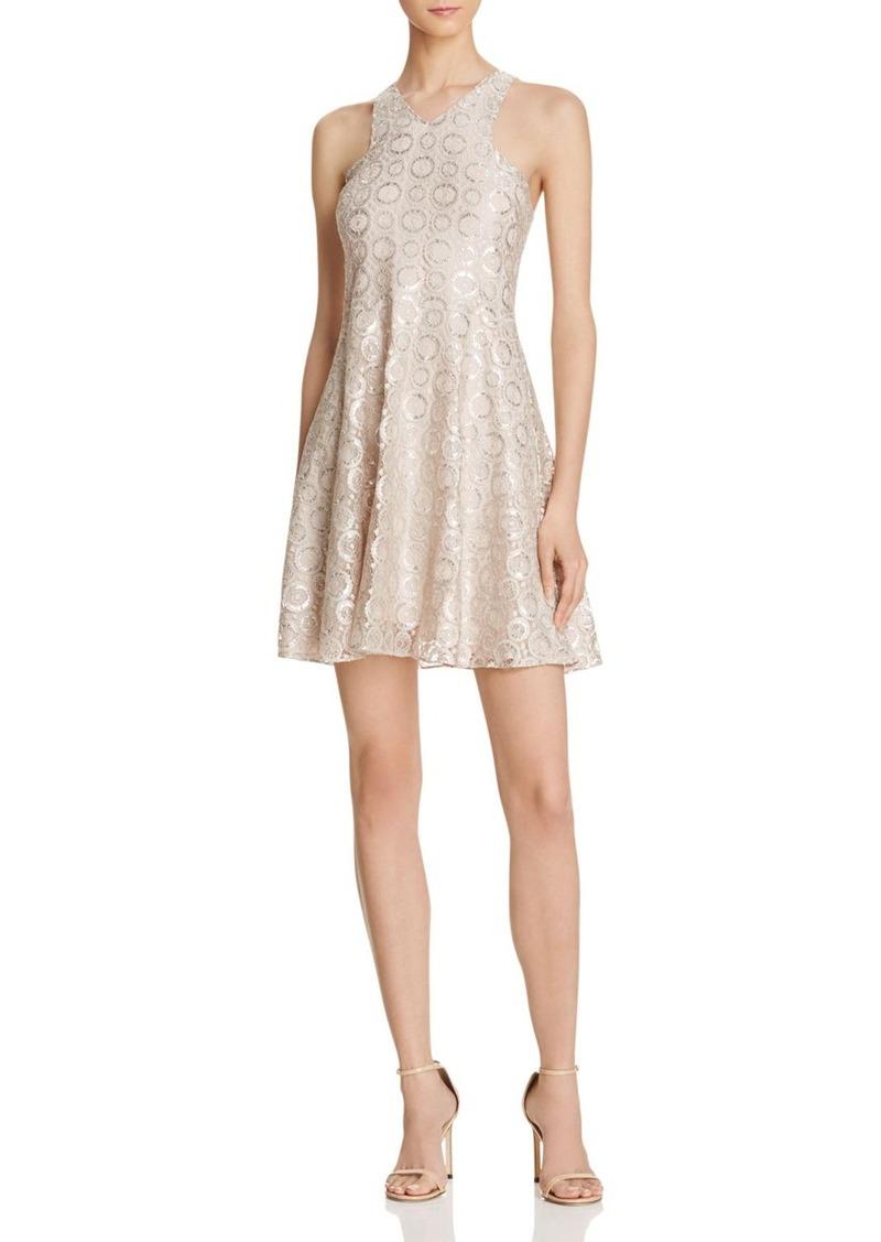 AQUA Metallic Lace Halter Dress