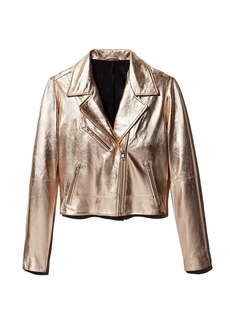 AQUA Metallic Leather Moto Jacket - 100% Exclusive