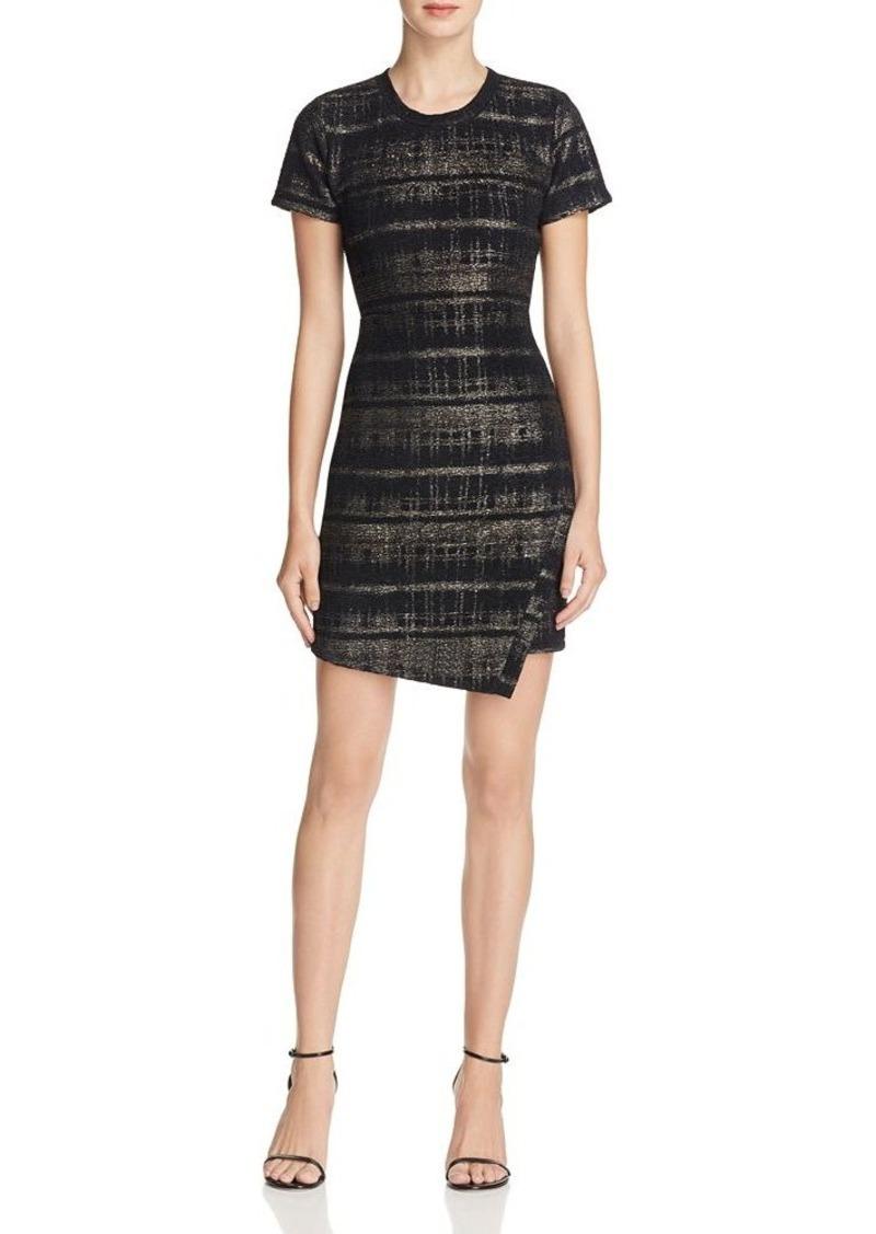 AQUA Metallic Plaid Envelope Hem Dress