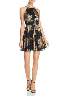 AQUA Metallic Printed Fit-and-Flare Dress - 100% Exclusive