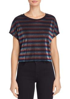AQUA Metallic Rainbow-Stripe Cropped Top - 100% Exclusive
