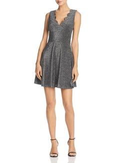 AQUA Metallic Scalloped Fit-and-Flare Dress - 100% Exclusive