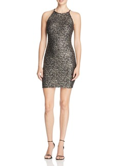 AQUA Metallic Splatter Body Con Dress