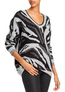 AQUA Metallic Zebra Jacquard Sweater - 100% Exclusive