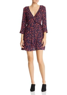AQUA Micro-Floral Faux-Wrap Dress - 100% Exclusive