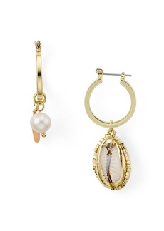 AQUA Mismatched Shell & Pearl Drop Earrings - 100% Exclusive