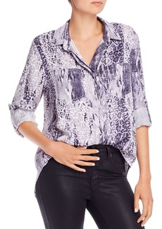 AQUA Mixed Leopard & Snakeskin Print Button-Down Shirt - 100% Exclusive
